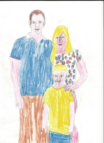Ребенок нарисовал свою семью без ушей